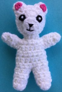 Crochet teddy for plane mobile bodies joined