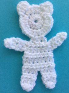 Crochet teddy for plane mobile body with arms