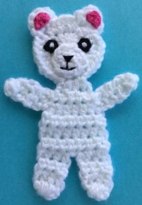 Crochet teddy for plane mobile body with inner ears