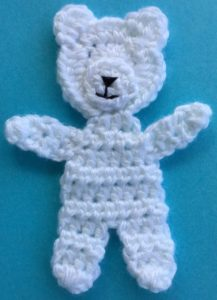 Crochet teddy for plane mobile body with muzzle