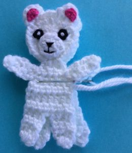 Crochet teddy for plane mobile joining bodies