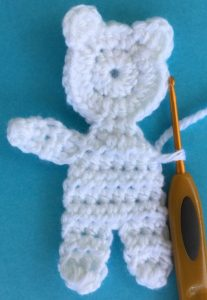 Crochet teddy for plane mobile joining for second arm