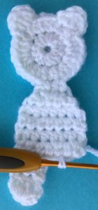 Crochet teddy for plane mobile joining for second leg