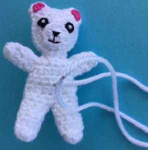 Crochet teddy for plane mobile stitching for tummy