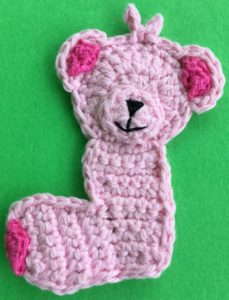 Crochet baby teddy bear body with foot