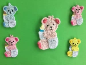 Finished crochet baby teddy bear group landscape