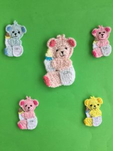 Finished crochet baby teddy bear group portrait