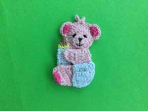 Finished crochet baby teddy bear landscape