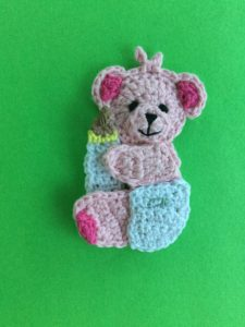 Finished baby teddy bear crochet applique pattern portrait