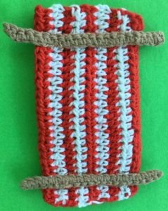Crochet beach chair joining cross frame pieces
