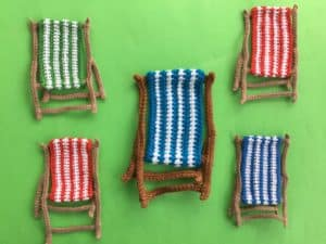 Finished crochet beach chair group landscape