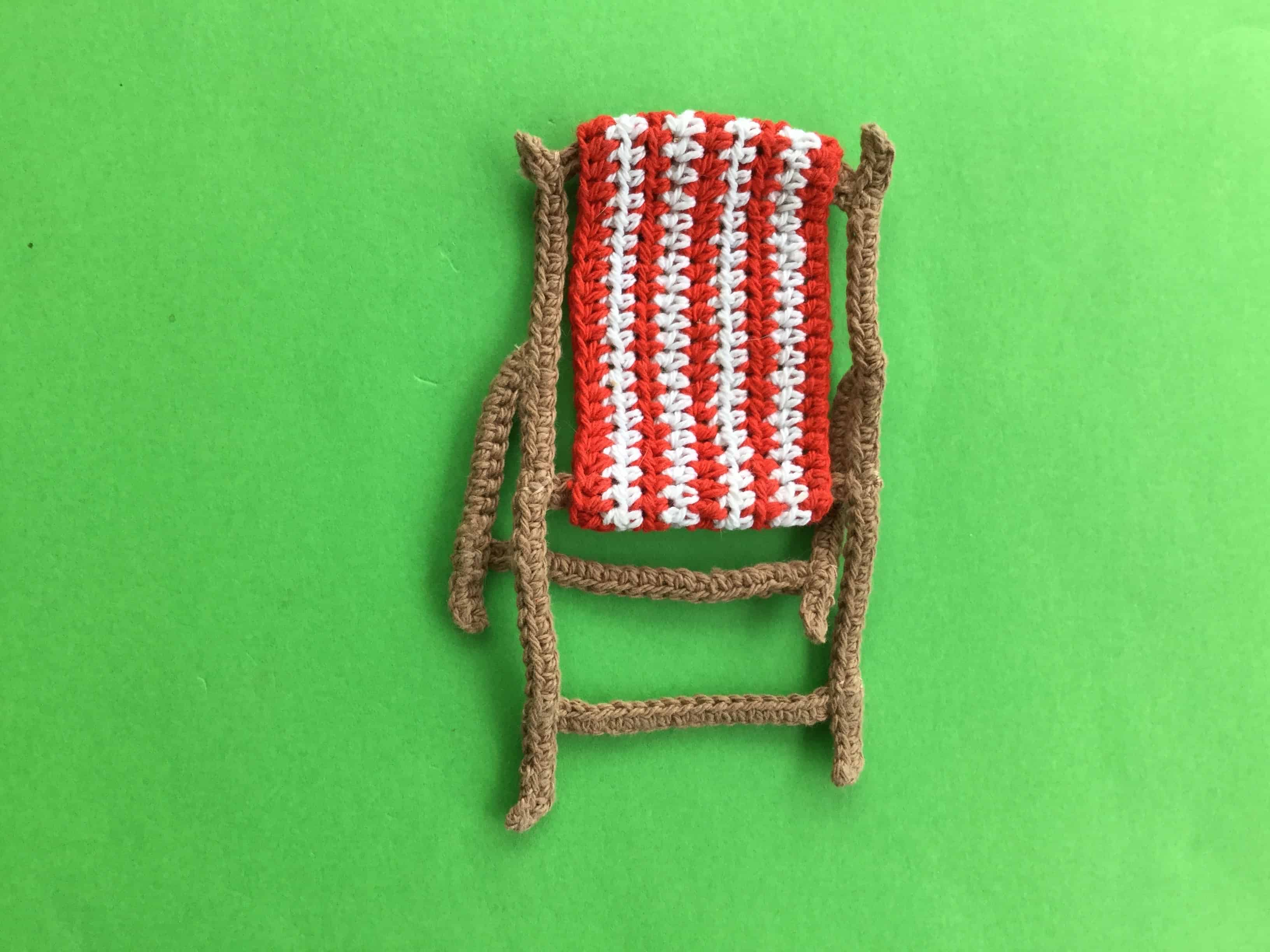 Finished crochet beach chair landscape