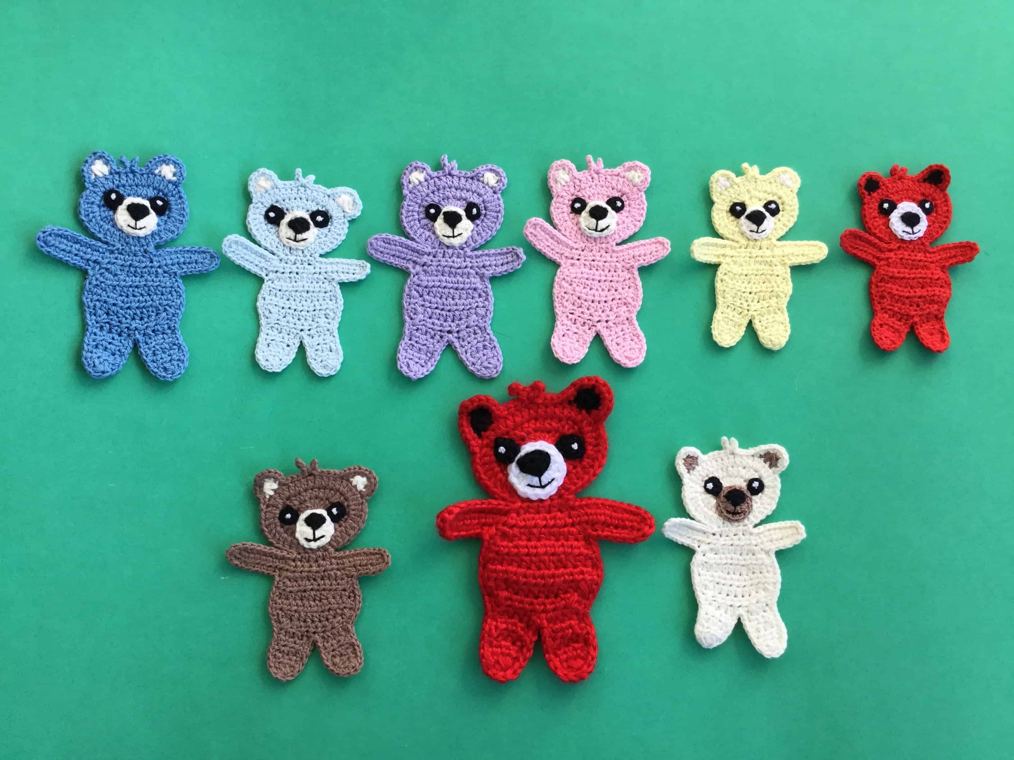 Finished crochet child teddy bear group landscape