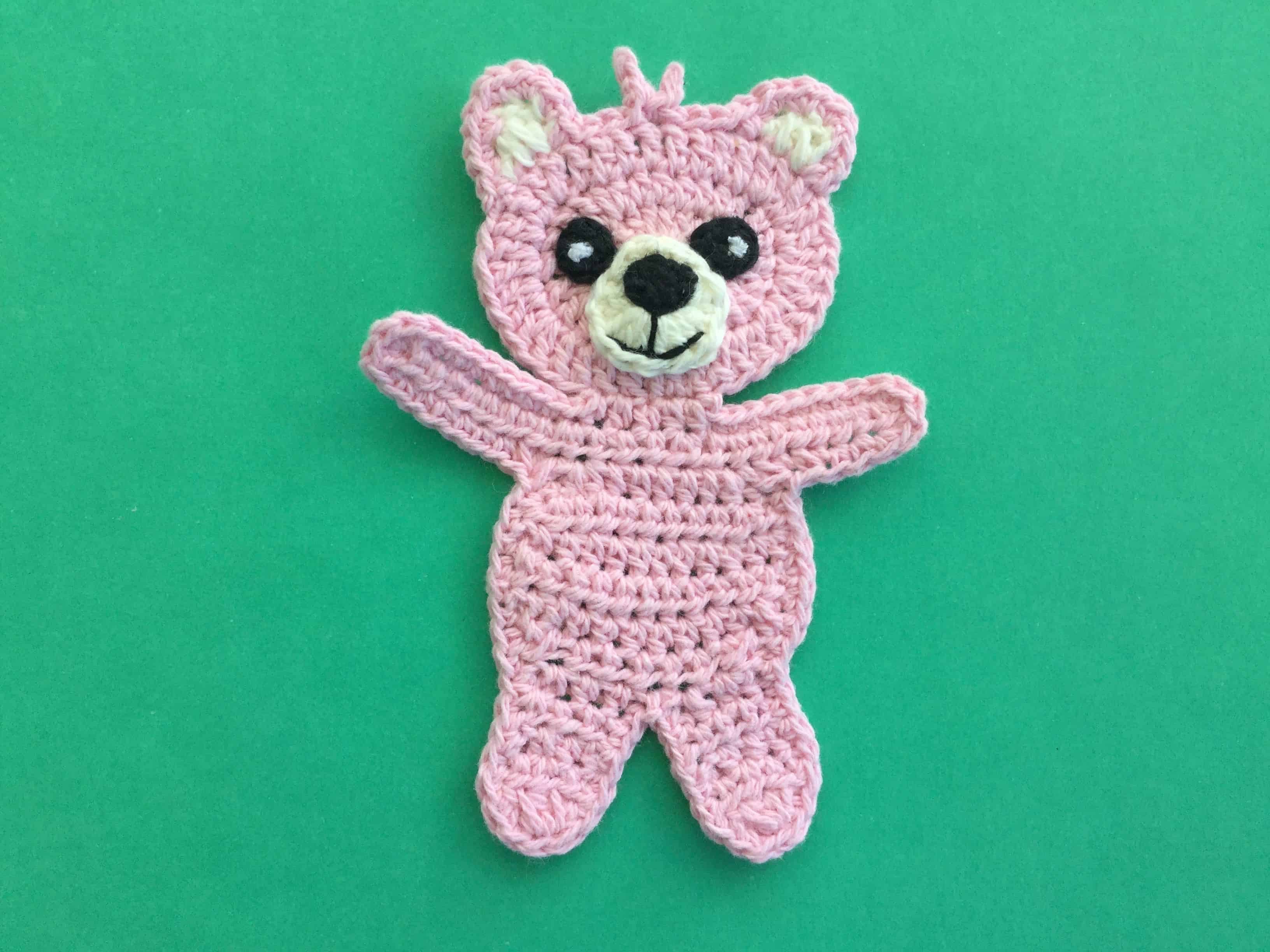 Finished crochet child teddy bear landscape