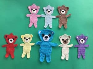 Finished crochet teddy bear applique group landscape