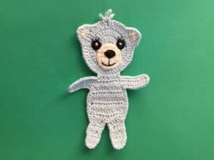 Finished crochet teddy bear applique landscape