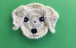 Finished crochet Labrador head landscape