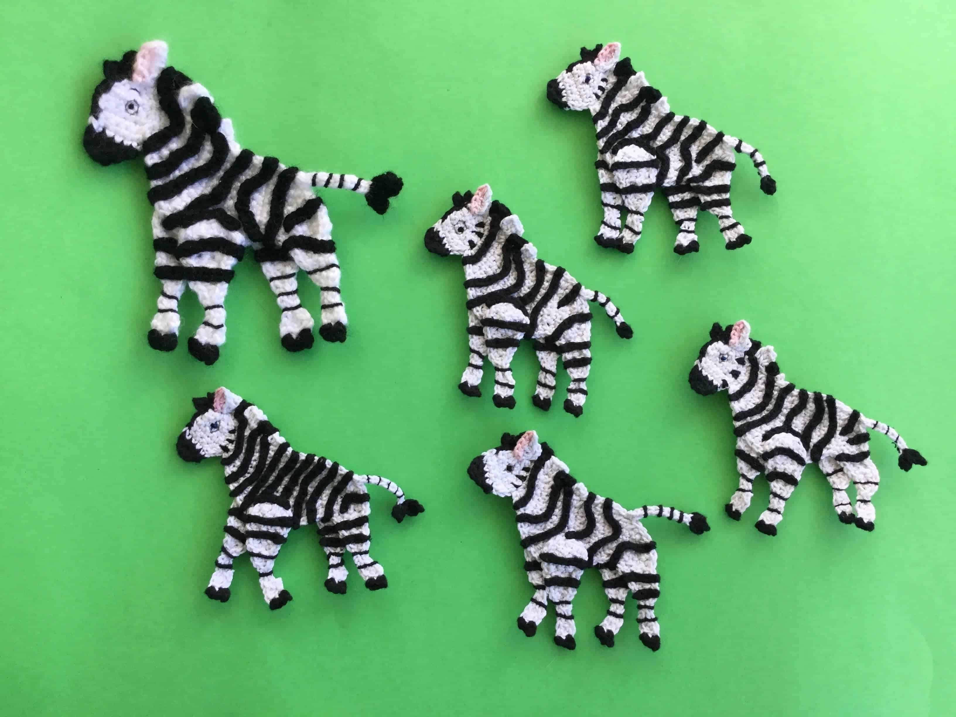 Finished crochet zebra group landscape