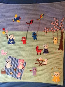 Finished teddy bears picnic baby blanket