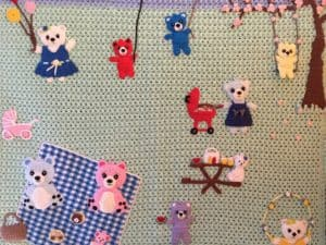 Finished teddy bears picnic baby blanket part blanket